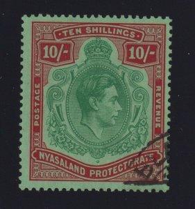 Nyasaland Protectorate Sc #37 (1921-30) 10/ King George VI Used