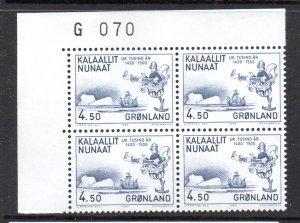 Greenland Sc 152 1983 4.5 kr  Polhorst tstamp corner number block of 4 mint NH