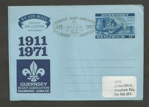 1971 Boy Scouts Guernsey Diamond Jubilee airletter FDC