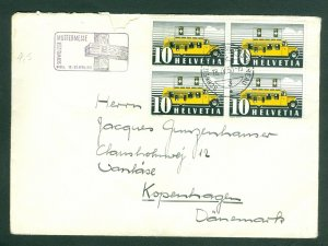 Switzerland. 1950 Cover. Special Cancel. 4-Block Sc# 237 Mobile Bus Office. Adr.