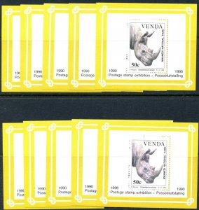 VENDA Sc#208a 1990 Rhinoceros Int'l Stamp Exhibition Lot of 10 S/S OG Mint NH
