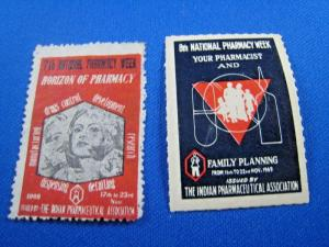 INDIA - LOT OF 2 LABELS FOR NATIONAL PHARMACY WEEK       (gg)