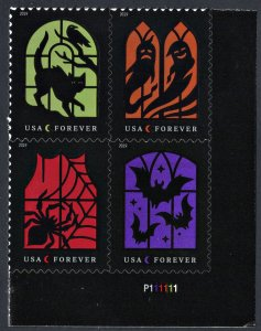 NEW ISSUE (55¢) Spooky Silhouttes Plate Block: LR #P111111 (2019) SA