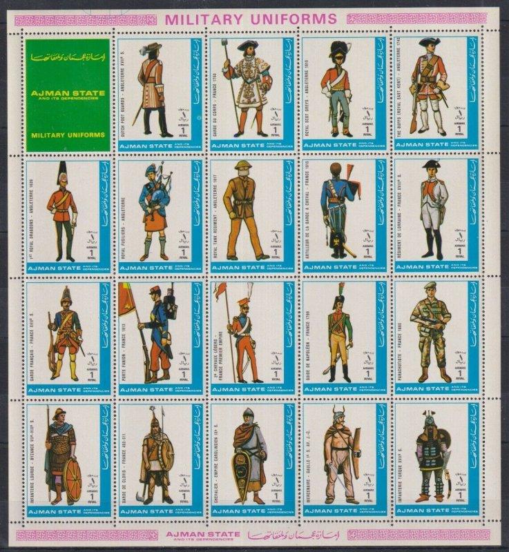 Ajman MNH S/S Military Uniforms 1972 19 Stamps Large Size
