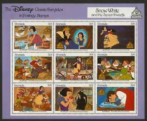 Grenada 1540 MNH Disney, Snow White & 7 Dwarfs, Birds