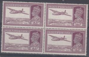 India Scott 161A Mint NH block (Catalog Value $130.00)