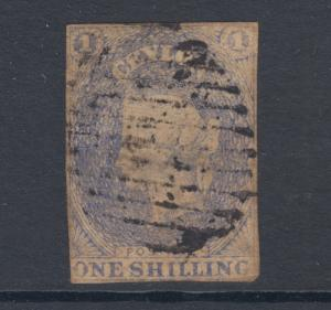 Ceylon SG 10, Sc 11, used. 1857 1sh slate violet, lightly toned, small faults.