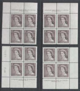 Canada id#3973 - Sc#O33 - set of four plate blocks#2- 1c brown QEII Karsh G .