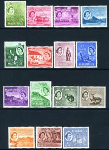 MAURITIUS-1953-58 Set to 10r Sg 293-306 MOUNTED MINT V15130