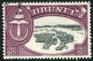 BRUNEI-1952-58 $5 Black & Maroon Sg 113 FINE USED V48421