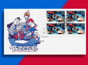Torch Batter Up!! • 1992 Olympic Baseball FDC with Plate Number Block!