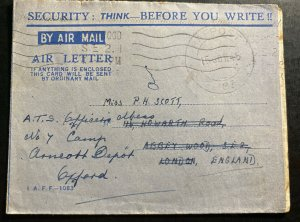 1945 RAFPOST  India OAS Censored Airmail Cover To Oxford England
