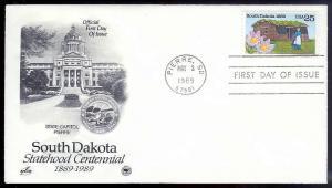 UNITED STATES FDC 25¢ South Dakota 1989 Postal Society