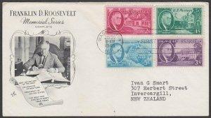 USA 1946 Roosevelt Art Craft commem FDC to New Zealand......................M124