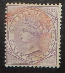 Natal 71. 1882 6p Violet QV, used, red cancel