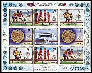 Belize 823-826, MNH, World Cup Football Mexico miniature sheet