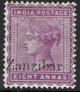 ZANZIBAR 1895 QV INDIA 8A