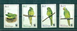 Mauritius - Sc# 966-9. 2003 Parakeets. Birds. MNH $4.25.