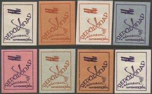 HUNGARY 1920  Eight MH Aviation Meet Labels: Repülőnap a Rákoson