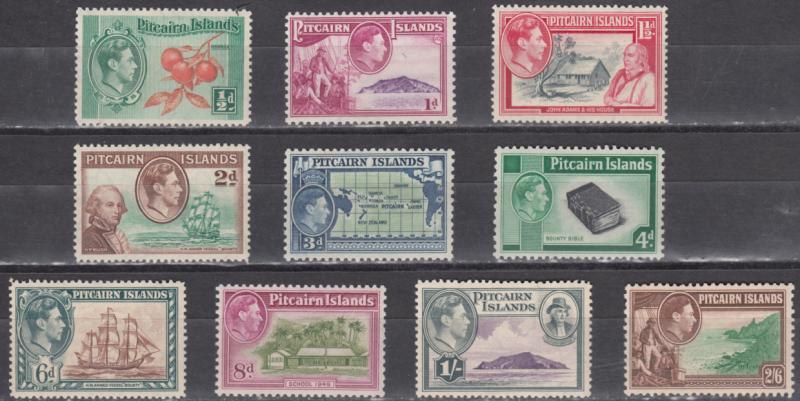 Pitcairn 1-8 SG1-8 Mi1-10 YT1-10 MLH 1940-51 CV£86 Fletcher Christian Bounty