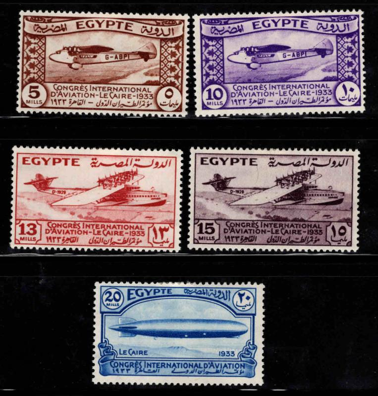Egypt Scott 172-176 MH* 1933 Cairo Aviation Congress set CV $81.50
