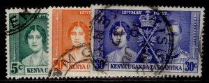 KENYA UGANDA TANGANYIKA GVI SG128-130, CORONATION set, FINE USED.