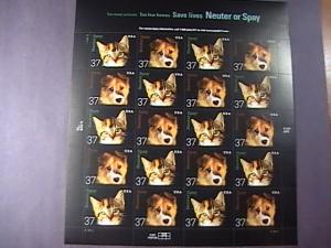 U.S.# 3670-3671(3671a)-MINT/NH--PANE OF 20--NEUTER AND SPAY PETS -2002