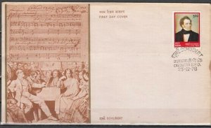 India, Scott cat. 817. Composer Schubert issue on a First day cover. *