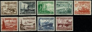 GERMANY 1937 FULL SET of 9 SG639-SG647 MINT UNUSED Wmk.NONE P.13.5 x 14 VGC
