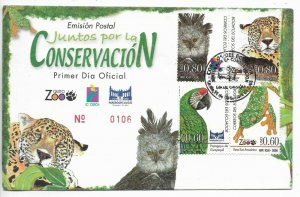 ECUADOR 2006 FAUNA ZOO JOIN FOR CONSERVATION BLOCK OF FOUR ON FDC COVER