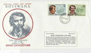 Botswana 1973 centenary of death of David Livingstone fdc stamps cover ref 21463