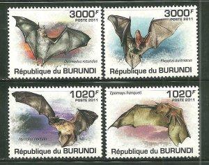 Burundi MNH 837-40 Bats 2011 SCV 13.00