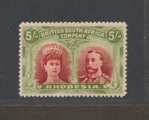 Rhodesia 5/- Doublehead (SG 161) Crimson & Yellow Green var Lines By Cheek VF LH
