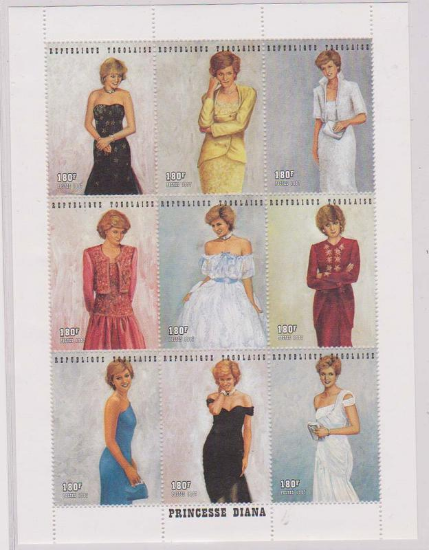Togo - 1997 Princess Diana Sheet of 9 VF-NH Sc. #1798
