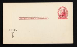 US ERROR/EFO Stamp Sc# UX33e Double Surcharge 1 Inverted @ LL Unused Clean