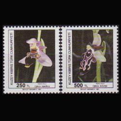 TURKISH-CYPRUS 1991 - Scott# 296-7 Orchids Set of 2 NH