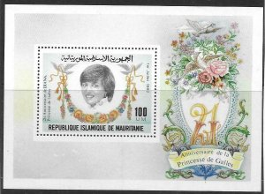 1982    MAURITANIA  -  SG.  MS  735  -  PRINCESS DIANA  21ST BIRTHDAY -  MNH