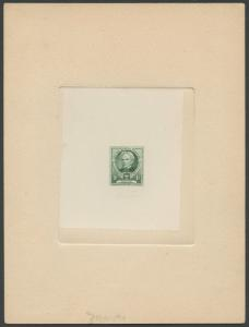 #869P1a LARGE DIE PROOF ON WHITE WOVE SUNK ON CARD W/ STOCK PROOF NO. WL9034