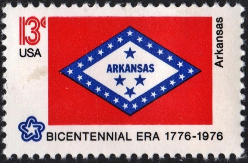SC#1657 13¢ Bicentennial State Flags: Arkansas Single (1976) MNH
