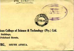 South Africa Official Free Mail 1944 Koffiefontein to Johannesburg with viole...