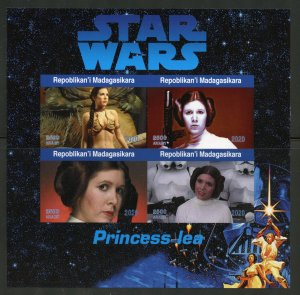 Madagascar 2020:  Star Wars Princess Lea imper sheet of four mint never hinged