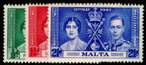 MALTA SG214-216, COMPLETE SET, NH MINT. CORONATION.