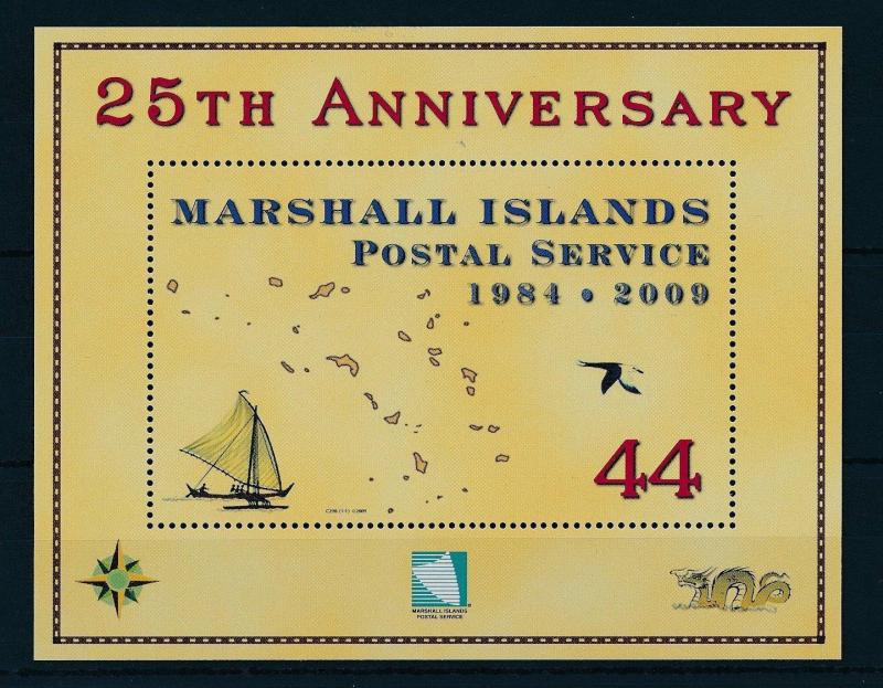 [24467] Marshall Island 2009 Aviation 25 Years postal service with sail boat MNH