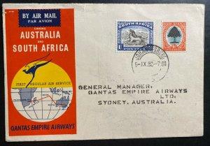 1952 Johannesburg South Africa First Flight Cover  FFC To Sydney Australia Qanta