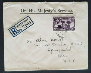 1945 Plymouth Montserrat to Springfield Ohio via New York USA Registered  Cover