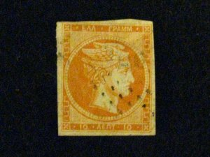 Greece #19a used yellow orange thins a209 1081