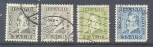 Iceland Sc 195-9 1935 Jochumsson stamp set used