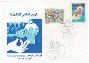 Algeria 1998 FDC Stamps Scott B109-110 Children's Day Family Roses Flowers