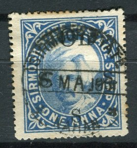 INDIA; SIRMOOR 1885-90s early Raja Parkash local issue fine used 1a. value