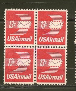 USA C79 Airmail 13Cent Block of 4 Used